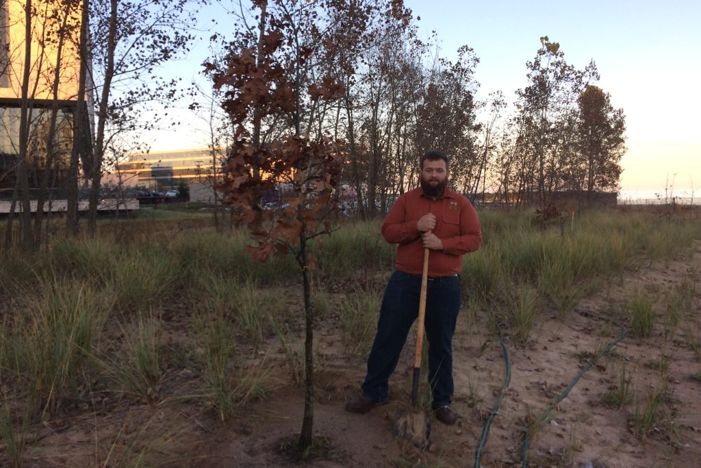 Planting a black oak tree at the Clark Street Beach Bird Sanctuary