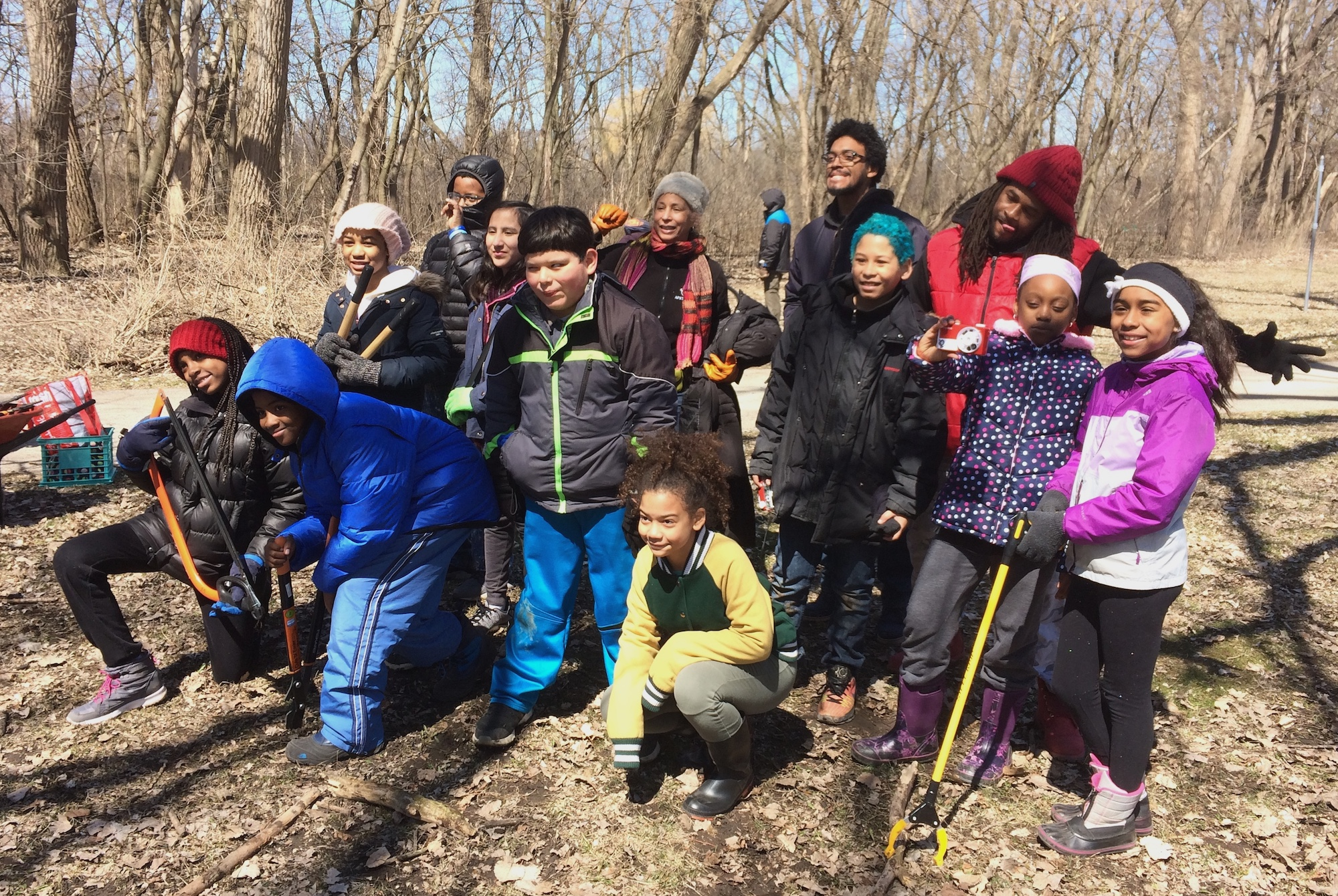 Youth from Quest4Earth helped clear buckthorn at Harbert Park